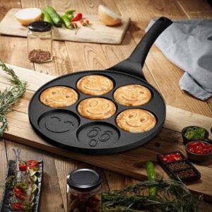 FRUITEAM Smiley Face Pancake Pan Nonstick Griddle